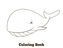 Coloring book whale cartoon educational Royalty Free Stock Photo