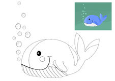 Coloring book with whale. Stock Photos