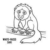 Coloring book, White-faced saki. Coloring book for children, White-faced saki Royalty Free Stock Photos