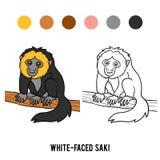 Coloring book, White-faced saki. Coloring book for children, White-faced saki Stock Photography