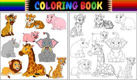 Coloring book with wild animals cartoon Royalty Free Stock Photo