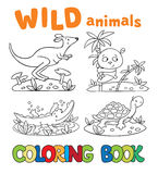 Coloring book with wild animals Royalty Free Stock Photography