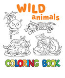 Coloring book with wild animals Stock Image