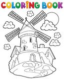 Coloring book windmill 1 Stock Photography