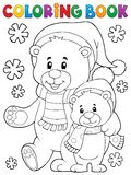 Coloring book winter bears theme 1 Royalty Free Stock Photo
