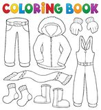 Coloring book winter clothes topic set 1 royalty free stock images