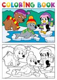 Coloring book winter topic 5. Vector illustration Stock Photo