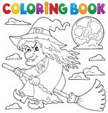 Coloring book witch on broom theme 1 Royalty Free Stock Photos