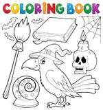 Coloring book witch crow theme Royalty Free Stock Photos