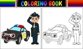 Coloring Book With Policeman And Police Car Stock Images
