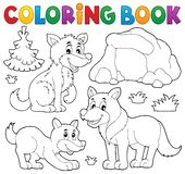 Coloring book with wolves theme 1 Stock Image