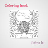 Coloring book with a woman with developing hair in a forest. Royalty Free Stock Image