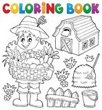 Coloring book woman farmer theme 1 royalty free illustration