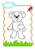 Coloring book of the wood, bear Royalty Free Stock Images