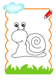 Coloring book of the wood, snail Royalty Free Stock Images