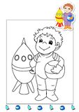 Coloring book of the works 1 - astronaut. Page for children, with the astronaut. Color digital illustration with the sketch in black and white and the colored Stock Photo