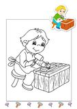 Coloring book of the works 11 - carpenter stock photo