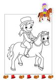 Coloring book of the works 17 - horsewoman Stock Photos
