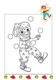 Coloring book of the works 24 - clown. Page for children, with a clown. Color digital illustration with the sketch in black and white and the colored example Stock Image