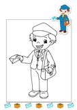 Coloring book of the works 26 - mail carrier Royalty Free Stock Photography