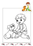 Coloring book of the works 27 - veterinarian. Page for children, with a veterinarian. Color digital illustration with the sketch in black and white and the Royalty Free Stock Photos