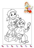 Coloring book of the works 31 - hairdresser Stock Photos