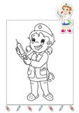 Coloring book of the works 32 - nurse Stock Photo