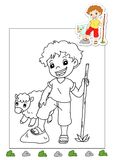 Coloring book of the works 37 - shepherd Royalty Free Stock Images