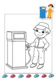 Coloring book of the works 38 - gas station attend Stock Image