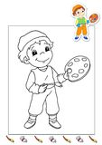 Coloring book of the works 6 - painter royalty free stock photography