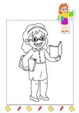 Coloring book of the works 7 - teacher stock image