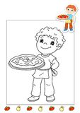 Coloring book of the works 8 - pizza Royalty Free Stock Photo