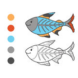 Coloring book (x-ray fish) Stock Photo