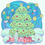 Coloring book Xmas theme. Royalty Free Stock Photo