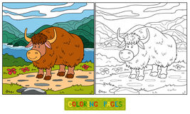 Coloring book (yak). Coloring book for children (yak Stock Images