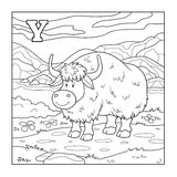 Coloring book (yak), colorless illustration (letter Y) Royalty Free Stock Images