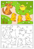 Coloring book. A yellow chicken cheers ducks and puppy. Royalty Free Stock Photos