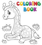 Coloring book young giraffe theme 1 Royalty Free Stock Photo