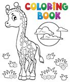 Coloring book young giraffe theme 2 Stock Image