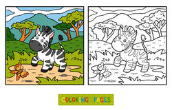 Coloring book (Zebra and background) Royalty Free Stock Photo