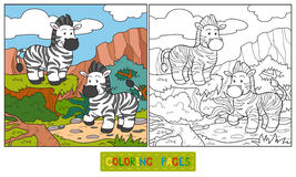 Coloring book (zebra) Royalty Free Stock Image