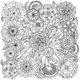 For coloring book. In zentangle style. Floral ornament. Art mandala style.  Black and white background Royalty Free Stock Photo