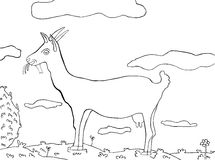 Coloring books. On which the goats on the meadow in bloom with clouds Royalty Free Stock Images