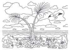 Template for coloring. Coloring Picture landscape with palm trees and seagulls stock illustration