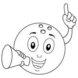 Coloring Bowling Ball Holding a Megaphone. Coloring illustration for kids: a happy cartoon bowling ball character smiling and holding a megaphone, isolated on Royalty Free Stock Photos