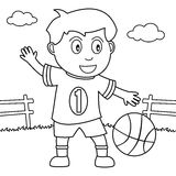 Coloring Boy Playing Basketball in the Park Stock Images