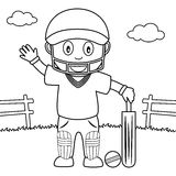Coloring Boy Playing Cricket in the Park Royalty Free Stock Photography