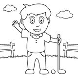 Coloring Boy Playing Golf in the Park Royalty Free Stock Images