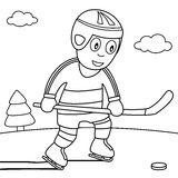 Coloring Boy Playing Ice Hockey in the Park Royalty Free Stock Photography