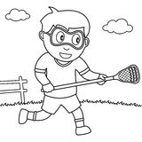 Coloring Boy Playing Lacrosse in the Park Stock Image